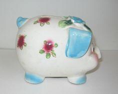 Shabby Cottage Vintage Ceramic Westpac Japan Piggy Bank Roses 1950s Stopper #Westpac