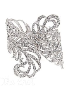 Thomas Laine - Crystal Feather Cuff Bracelet - GORGEOUS!
