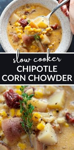 Slow Cooker Chipotle Corn Chowder takes less than 15 minutes to prepare and packs in a bit of heat for a whole lot of flavor. #easy #vegetarian #healthy #soup #dinner #recipe Vegetarian Recipes Dinner, Healthy Crockpot Recipes, Easy Healthy Dinners, Healthy Soup, Slow Cooker Recipes, Beef Recipes, Soup Recipes, Vegan Recipes, Simple Meals