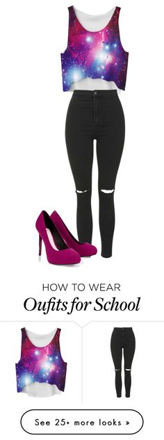 """""""Galaxy~ School Halloween"""" by sienna-esabella284 on Polyvore featuring Topshop and Lipsy"""