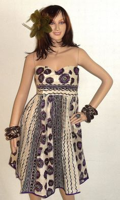 African purple and beige Wax Print Dress by ZabbaDesigns on Etsy, $70.00