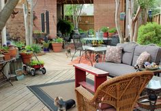 Try to incorporate nature into your outdoor sitting and lounging areas