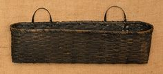New Primitive Farmhouse Chic BLACK WIDE WALL BASKET Mail Letter Holder