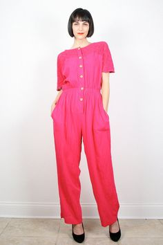 Vintage Jumpsuit Hot Pink Jumpsuit Wide Leg by ShopTwitchVintage