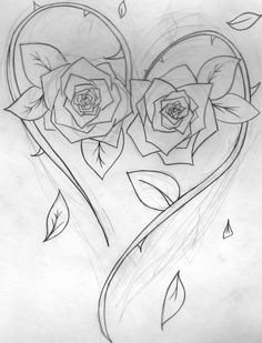 Heart with roses tattoo