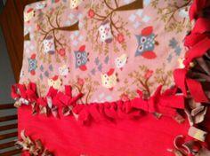 No sew fleece blanket in cute owl pattern