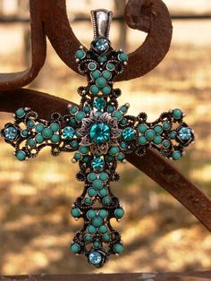 Victorian Style Turquoise Cross This is perfect I love this western charm necklace  soooooo much