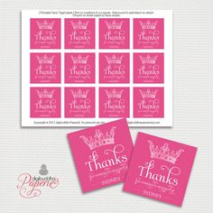 {Sydney} Favor Tags Princess Pink with Crown Thank You by digibuddhaPaperie, $6.00  https://www.etsy.com/listing/101587804/favor-tags-princess-pink-with-crown