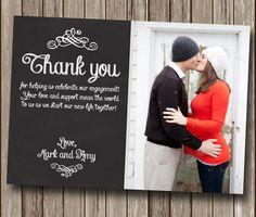 Engagement Thank You Card - Chalkboard Photo Printable - Wedding Thank You Card - DIY