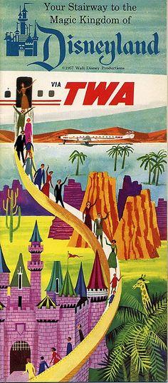 this is one of my favorite Vintage TWA poster promoting flights to Disneyland Walt Disney, Disney Love, Disney Magic, Disney Parks, Disney Stuff, Vintage Advertisements, Vintage Ads, Vintage Airline, Vintage Ephemera