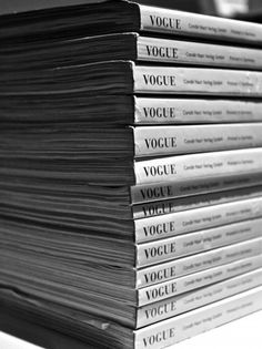 Stack of Vogue magazines