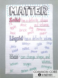 Matter Unit and Anchor Chart