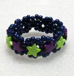 Kandi Beaded Stretchy 3D Cuff Bracelet In Dark by TheBeadedDiamond, $5.00