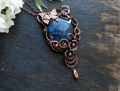 Summer gift Party jewelry blue flower necklace summer outdoors Flower jewelry Statement Copper jewelry bohemian pendant butterfly jewelry