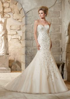 1c863cafd741 Diamanté and Swarovski Crystal Beaded Embroidery Over Net Morilee Bridal  Wedding Dress