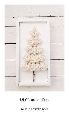 DIY Yarn Tassel Tree – the dotted bow – Craft Farmhouse Christmas Decor, Rustic Christmas, Simple Christmas, Christmas Holidays, Christmas Ornaments, Diy Christmas Tree, Etsy Christmas, Christmas Signs, Holiday Signs