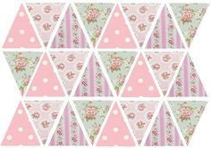 24 or 48 Edible Bunting Flags Pink Floral 4.5cm Tall Icing Sheet Cupcake Toppers