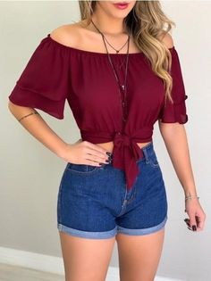 Crop Top Outfits, Girly Outfits, Cute Casual Outfits, Pretty Outfits, Beautiful Outfits, Girls Fashion Clothes, Girl Fashion, Fashion Outfits, Summer Outfits Women 20s