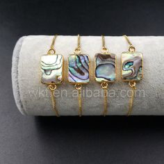 WT-B337 Wholesale Natural Rectangle Abalone Shell With 24k
