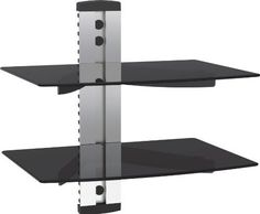 VonHaus by Designer Habitat Silver Floating Shelf with Strengthened Tempered Glass for DVD Players/Cable Boxes/Games Consoles/TV Accessories from Designer Habitat Black Friday Cyber Monday Dvd Wall Shelf, Playstation, Cable Tv Box, Floating Glass Shelves, Home Entertainment Furniture, Tv Accessories, Silver Walls, Wall Mount Bracket, Black Glass