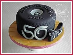 Tyre cake with motorbike love it