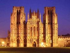West Front at night, Wells Cathedral.    http://en.wikipedia.org/wiki/Wells_Cathedral