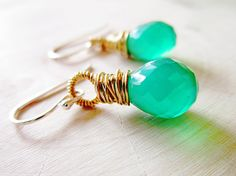 Teal Stone Earrings Wrapped in Gold and by thelittlehappygoose, $45.00