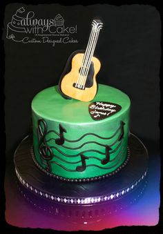 Sweet Music - This cake was for a guitar and music enthusiast. Guitar is modeled out of gumpaste and covered with fondant. Cake is painted with two different shades of luster dust. Music Themed Cakes, Music Cakes, Themed Wedding Cakes, Wedding Cake Toppers, Guitar Birthday Cakes, Birthday Cake Write Name, 65th Birthday, Fondant Cakes, Cupcake Cakes