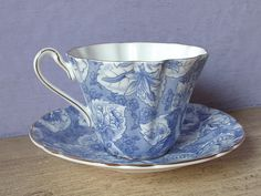 Vintage Blue and White China teacup and saucer by ShoponSherman …