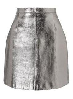 Mini jupe argentée en cuir
