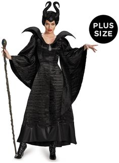 PartyBell.com - #Maleficent Deluxe Christening Black Gown Adult Plus Costume