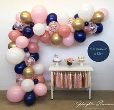 DIY Balloon Garland Kit Pink White Navy CONFETTI & | Etsy