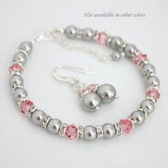 Swarovski Light Grey Pearl and Light Pink by alexandreasjewels, $27.50