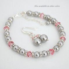 CUSTOM COLOR Bridesmaid Jewelry Set, Swarovski Light Grey Pearl and Light Pink Crystal Bracelet and Earring Set, Bridal Bracelet Set