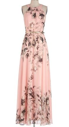 Fete of Florists Dress. Since you spend most of your days toiling over intricate floral sculptures, you welcome an opportunity to relax and celebrate with your colleagues at your biannual party, which you attend in this pink floral maxi dress! Pretty Outfits, Pretty Dresses, Beautiful Dresses, Mod Dress, Dress Up, Jumper Dress, Pink Floral Maxi Dress, Floral Chiffon, Chiffon Maxi