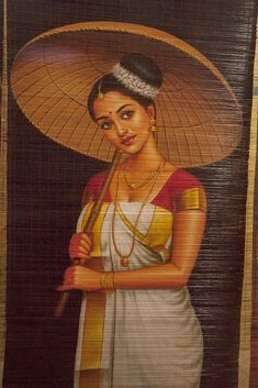 Modern Indian Art, Indian Folk Art, Mother Earth Drawing, Hand Painted Sarees, Kerala Bride, Indian Art Paintings, Beautiful Paintings, Female Art, Houseboats