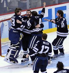 Pittsburgh, PA-- Yale celebrates their win over Quinnipiac for the NCAA Hockey National Championship. Photo-Peter Casolino/Register pcasolino@newhavenregister.com