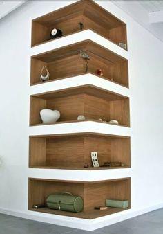 Space-Saving Corner Shelf Design Ideas www. - Home Decor Art - Space-Saving Corner Shelf Design Ideas www. Corner Shelf Design, Diy Corner Shelf, Corner Wall Shelves, Book Shelves, Storage Shelves, Corner Storage, Shelves Built Into Wall, Salon Shelves, Niche Design