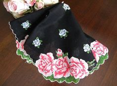 Vintage Black Handkerchief with Pink and Blue Roses