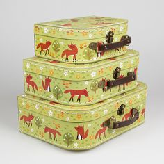 An adorable set of 3 Spring Forest design suitcases by Sass & Belle. Perfect decorative items for a little one's room, to store favourite toys and hidden treasures.