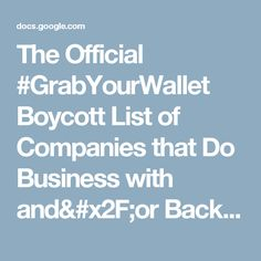 The Official #GrabYourWallet Boycott List of Companies that Do Business with and/or Back the Trump Family