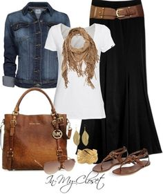 white tee, maxi, chambrey, leather - Click image to find more fashion posts