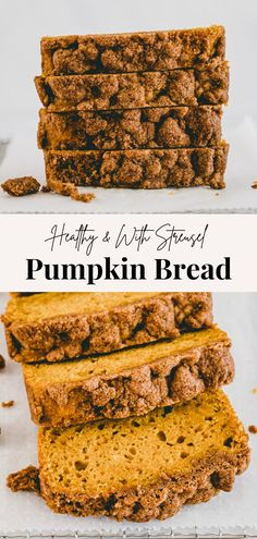 Probably one of the best healthy vegan pumpkin bread recipes with streusel topping ever! And it's so damn easy to make! #pumpkin #bread #vegan #recipe #healthy #streusel