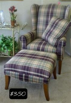 Check out this sweet wing back chair in a purple and sage gingham! A must have!!      Yesterdays Treasures Consignment    996 Moraga Road    Lafayette    925 - 283 - 8549