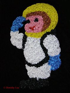 Astronaut Melted Plastic Popcorn Wall Decoration Vintage picclick.com
