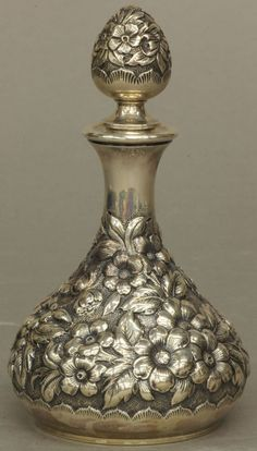 """STERLING SILVER PERFUME BOTTLE height- 5 3/4"""" weight-"""