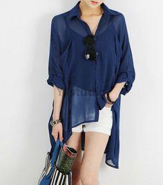 Blouse, Korean Style Women Bat WingBlouse, Blue blouse, short sleeve, see through blouse, V neck blouse