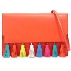 Rebecca Minkoff Sofia Leather Tassel Clutch Bag (11,710 PHP) ❤ liked on Polyvore featuring bags, handbags, clutches, poppy red, red handbags, rebecca minkoff handbags, orange purse, red purse and orange handbags