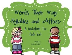 {Free Sample} Words Their Way - Syllables and Affixes - Wo