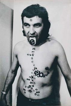 Attila Csernik, Body-lettering, 1975